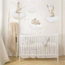 Fabric Wall Decal Bunnies Fishing Stars Nursery Wall Decal Etsy