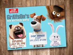 Secret Life Of Pets Invitation Personalized Digital Printable By