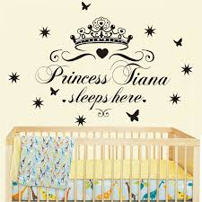 Custom Name Princess Sleeps Here Nursery Vinyl Wall Art Sticker Crown Wall Decal For Children Girls Room Bedroom Door Decor Crown Wall Decals Name Wall Decalswall Decals Aliexpress