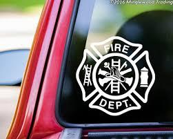 Firefighter Cross Heart Vinyl Decal Sticker Maltese Badge Fireman Wife Minglewood Trading