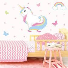 Standing Rainbow Unicorn Wall Stickers Get Sticking