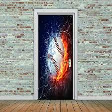 Amazon Com Pvc Door Stickers Water And Fire Baseball 3d Door Wall Sticker Decal Art Decor Vinyl Removable Mural Window Door Pvc Diy 77x200cm Baby