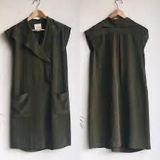 Anthropologie Maeve Silk Dress Size 2 Ida Green Collar Wrap ...