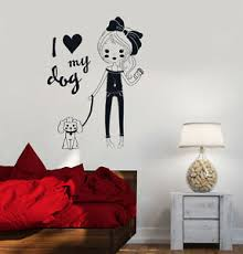 Vinyl Decal Pretty Teen Girl With Dog Room Decor Wall Stickers Ig3518 Ebay
