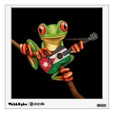 Tree Frog Playing Jordanian Flag Guitar Black Wall Decal Zazzle Com Wall Decals Custom Wall Decal Jordanian Flag