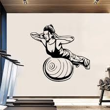 Creative Woman Gym Wall Decal Pvc Material Wall Stickers For Fitness Room Art Decals Smooth Wall Glass Metal Wood 4010 Wall Stickers Aliexpress