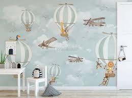 Kids Hot Air Balloon With Cartoon Animals Wallpaper Mural Wallmur
