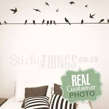 Birds On A Wire Wall Decal Flying And Sirtting Birds Wall Stickers Wall Stickers Bedroom Wall Decals Decal Wall Art