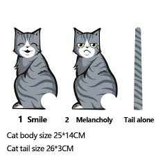 2020 Cartoon Melancholy Smiling Cat Car Sticker Can Wag Tail Rear Rain Wiper Cat Reflective Car Sticker From Hoya Automobile 1 21 Dhgate Com