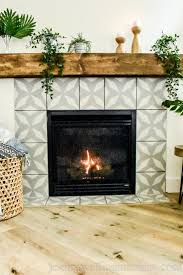 diy faux cement tile fireplace makeover