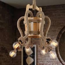 rope wood pendant chandelier 6 lights