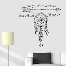 To Catch Your Dream You Must Chase It Quote Wall Sticker Dream Catcher Amulet Feathers Night Symbol Dreamcatcher Eb514 Wall Stickers Aliexpress