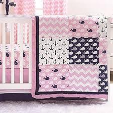 anchors pink 3 piece crib bedding set
