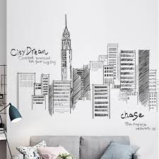 Wall Stickers Large Tall City Buildings Set Art Wall Decal Pvc Diy Mural Art For Living Room Sofa Decoration Background Decor Wall Sticker Sticker Pvcpvc Wall Sticker Aliexpress