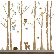 Nursery Wall Decals Birch Trees Decal Tree Wall Decal Forest Wall Decals Tree Wall Decal With Deer Birch Tree Wall Decal Birch Tree Decal Tree Wall Decal