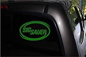 Amazon Com Sig Sauer Green Oval Vinyl Decal Sticker For Car Truck Van Window 5 9 X 3 8 Green Automotive