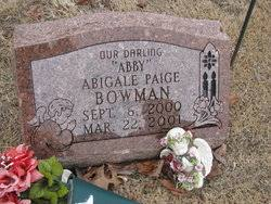 """Abigail Page """"Abby"""" Bowman (2000-2001) - Find A Grave Memorial"""