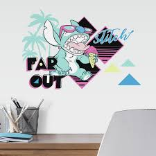 Roommates Decor Disney Stitch Far Out Blue Aqua And Yellow Peel And Stick Wall Decal Rmk4148scs Bellacor