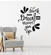 Vinyl Wall Decal Work Hard Office Words Phrase Inspirational Quotes St Wallstickers4you