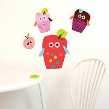 Happy Owls Removable And Reusable Fabric Wall Stickers
