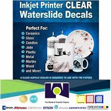 Papel Transfer Inkjet Waterslide Decal Clear Paper 30 Hojas 8 5x11 Diy Ebay