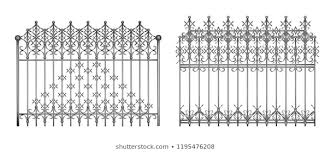 Sections Decorative Forged Fence Gates Elegant Stock Vector Royalty Free 1195476208
