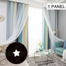 Moobody Star Curtains Stars Blackout Curtains For Kids Girls Bedroom Living Room Colorful Double Layer Star Window Curtains 1 Panel 53 Walmart Com Walmart Com