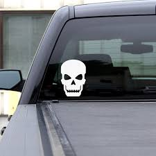 Amazon Com Best In Auto Skull Window Decal White Gloss 7 Inches Tall Vinyl Sticker Robotic Graphic Large Car Truck Suv Motorcycle Skateboard Automotive