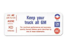 Keep Your Truck All Gm Decal 1972 Chevy Truck Jim Osborn Reproductions 5122