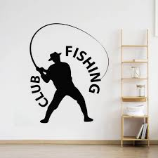 Fishing Fisherman Wall Sticker Fishing Club Logo Wall Window Decal Home Decor Fish Relax Activity Vinyl Wall Posters Ay1635 Wall Stickers Aliexpress