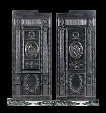 pair louis xvi antique fireback panels