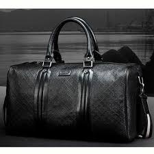 black mens leather business travel bag