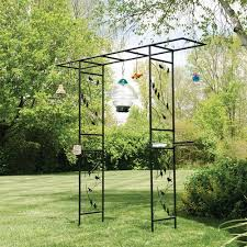 bird motif arbor with bird feeding