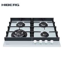 hob gas on glass with cast iron grilles