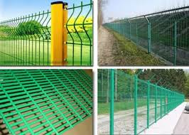Pvc Coated Wire Mesh Fence Panels For Highway Construction Green Color