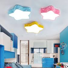 Adorable Star Shade Led Ceiling Lamp Contemporary Blue Pink Yellow Acrylic Lighting Fixture For Kids Room Beautifulhalo Com