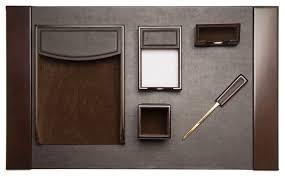 6 piece black leather desk set