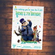Zootopia Invitation Zootopia Movie Invitation Zootopia Theme