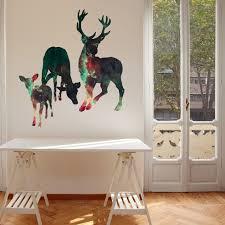 Space Deer Wall Decal Set By Chromantics Deer Silhouette Space Mural