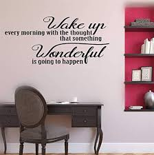 Amazon Com Coiuyz Wall Decal Wall Written Vinyl Wall Decals Quotes Sayings Words Art Deco Lettering Wake Up Every Morning With The Thought Home Kitchen