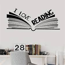 Amazon Com Edvoynlm I Love Reading Vinyl Wall Decal Stickers For Library Reading Corner Room Classroom Open Book Stickers Mural Home Kitchen
