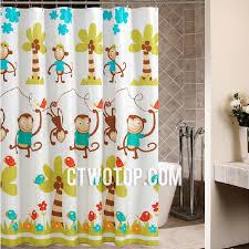 White Monkey Polyester Kid Shower Curtains