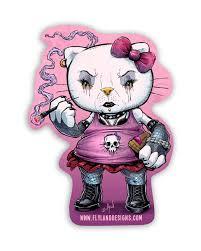 Goth Hello Kitty Vinyl Sticker Flyland Designs Freelance Illustration And Graphic Design By Brian Allen