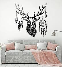 Vinyl Wall Decal Wild Animal Deer Head Bedroom Dream Catcher Stickers Wallstickers4you