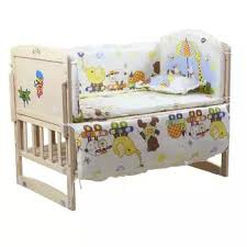 5pcs Baby Bed Bumpers Pure Cotton Infant Bedding Set Newborn Cartoon Printed Crib Fence Protector For Toddler Lazada Ph