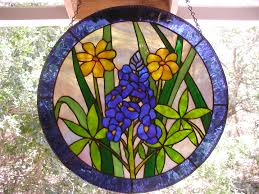 stained glass blue bonnet window hanging