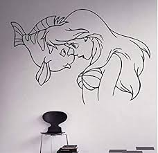Amazon Com 3d Wall Stickers Waofe Comics Art Princess Little Ariel Vinyl Decal Home Decoration Nursery Room Removable Wall Stickers 58 40cm Baby