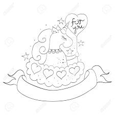 Ilustracion De Estilo De Dibujos Animados Del Unicornio En Una
