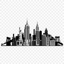 New York City Skyline Wall Decal Silhouette Png 1024x1024px New York City Black And White City