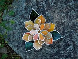 stained glass water lily candle holder